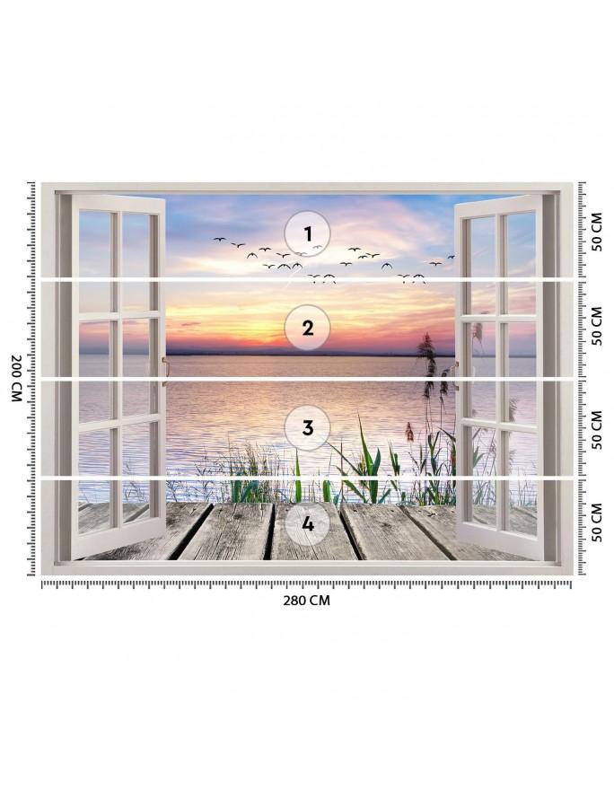 Biały budda, Parawan pokojowy dwustronny obrotowy 360°  na płótnie - Canvas