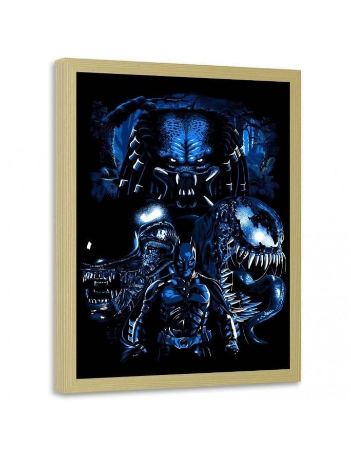 Megalopolis w nocy, Parawan pokojowy na płótnie - Canvas